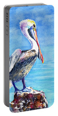 Portable Battery Charger featuring the painting Pelican On A Post  by Carlin Blahnik CarlinArtWatercolor