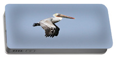 Portable Battery Charger featuring the pyrography Pelican On The Wing by Shoal Hollingsworth