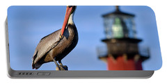 Pelican Perched Under Jupiter Lighthouse, Florida Portable Battery Charger