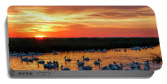 Pelicans At Sunrise Portable Battery Charger
