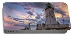 Pemaquid Point Lighthouse At Sundown Portable Battery Charger