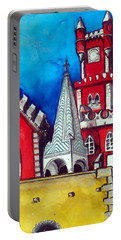 Portable Battery Charger featuring the painting Pena Palace In Portugal by Dora Hathazi Mendes