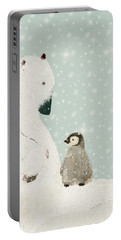 Portable Battery Charger featuring the painting Penguin And Bear by Bri B