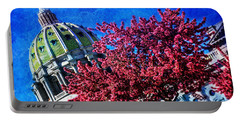 Portable Battery Charger featuring the photograph Pennsylvania State Capitol Dome In Bloom by Shelley Neff