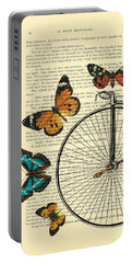 Penny Farthing With Butterflies Portable Battery Charger