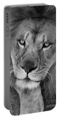 Pensive Black And White Portable Battery Charger