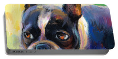 Pensive Boston Terrier Dog Painting Portable Battery Charger by Svetlana Novikova