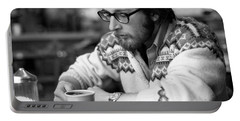 Pensive Brown Student, Louis Restaurant, 1976 Portable Battery Charger