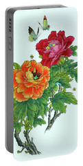 Peonies And Butterflies Portable Battery Charger by Yufeng Wang