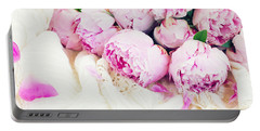 Peonies And Wedding Dress Portable Battery Charger by Anastasy Yarmolovich
