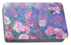 Portable Battery Charger featuring the painting Peonies by Claire Bull