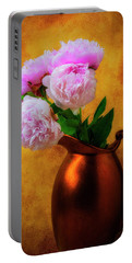 Peonies In Bronze Pitcher Portable Battery Charger