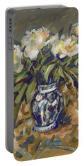 Peonies In Delft Blue Vase On Quilt Portable Battery Charger