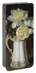 Peonies In Fluted Japanese Coffeepot Portable Battery Charger