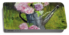 Peonies In Watering Can Portable Battery Charger