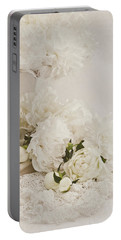 Peonies In White  Portable Battery Charger