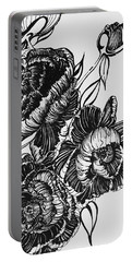 Peonies Line Drawing Portable Battery Charger