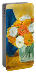 Portable Battery Charger featuring the painting Peonies by Maria Langgle