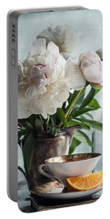 Peonies Tea And Oranges Portable Battery Charger
