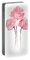 Peony Bouquet Anniversary Woman Art Print, Pink Paper Flower Watercolor Painting Portable Battery Charger