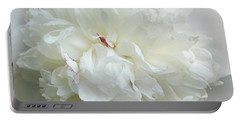 Peony In White Portable Battery Charger