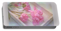 Peonies In White Box Portable Battery Charger