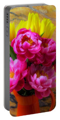 Peony's And Tulips In Pitcher Portable Battery Charger