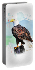 Portable Battery Charger featuring the painting Perched Eagle by Greg Collins