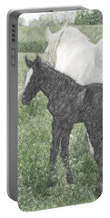 Percheron Colt And Mare In Pasture Digital Art Portable Battery Charger