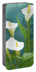 Portable Battery Charger featuring the painting Perfection - Calla Lily Trio by Audrey Jeanne Roberts