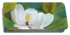 Portable Battery Charger featuring the painting Perfection - Magnolia Blossom Floral by Audrey Jeanne Roberts