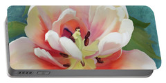 Portable Battery Charger featuring the painting Perfection - Single Tulip Blossom by Audrey Jeanne Roberts