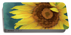 Portable Battery Charger featuring the painting Perfection - Russian Mammoth Sunflower by Audrey Jeanne Roberts