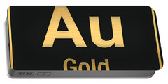 Periodic Table Of Elements - Gold - Au - Gold On Black Portable Battery Charger