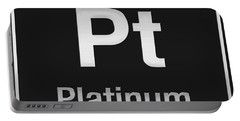 Periodic Table Of Elements - Platinum - Pt - Platinum On Black Portable Battery Charger