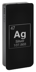 Periodic Table Of Elements - Silver - Ag - Silver On Black Portable Battery Charger