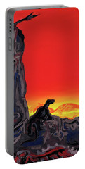 Portable Battery Charger featuring the painting Permian Outpost by Ryan Demaree