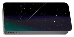 Portable Battery Charger featuring the digital art Perseid Meteor Shower  by Jean Pacheco Ravinski