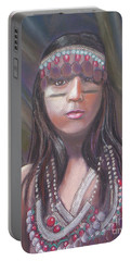 Portable Battery Charger featuring the pastel Peruvian Girl by Julie Brugh Riffey