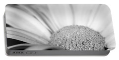 Petals - Black And White Portable Battery Charger by Angela Rath