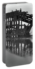 Peter Iredale Shipwreck In Black And White Portable Battery Charger