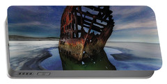 Peter Iredale Shipwreck Under Starry Night Sky Portable Battery Charger