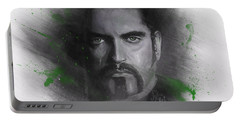 Portable Battery Charger featuring the drawing Peter Steele, Type O Negative by Julia Art