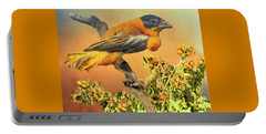 Portable Battery Charger featuring the photograph Petit Oiseau Dans Plaqueminier Or Small Bird In Persimmons  by Janette Boyd