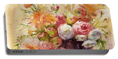 Petite Apples In Floral Portable Battery Charger by Judith Levins