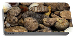 Petoskey Stones With Shells L Portable Battery Charger