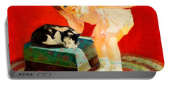 Portable Battery Charger featuring the painting Petting The Cat George Leslie Rapp 1920 by Peter Gumaer Ogden
