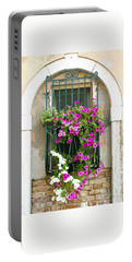 Petunias Through Wrought Iron Portable Battery Charger