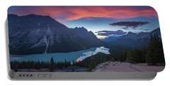 Portable Battery Charger featuring the photograph Peyto Lake At Dusk by William Lee