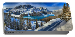 Peyto Lake Winter Panorama Portable Battery Charger